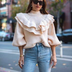 Zara Flounced Rib-Knit Wool Blend Cream Sweater